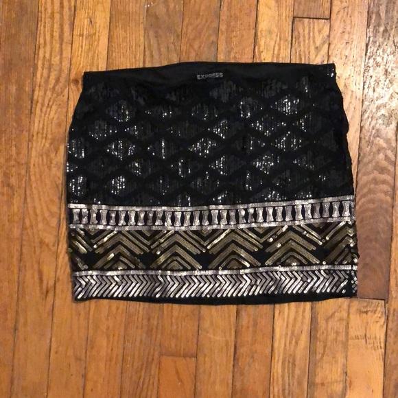 Express Dresses & Skirts - {Express} Sequin Patterned Black Mini Skirt S